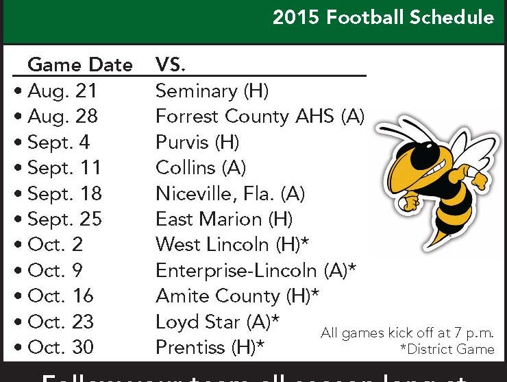 Bassfield High School football schedule
