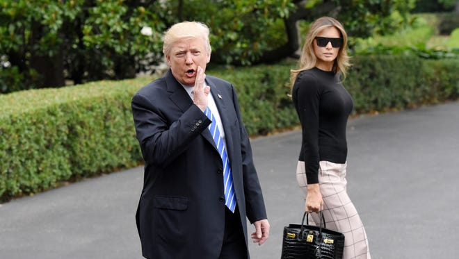 President Donald Trump and First Lady Melania Trump depart the White House Wednesday, July 5, 2017 in Washington, D.C. (Olivier Douliery/Abaca Press/TNS)