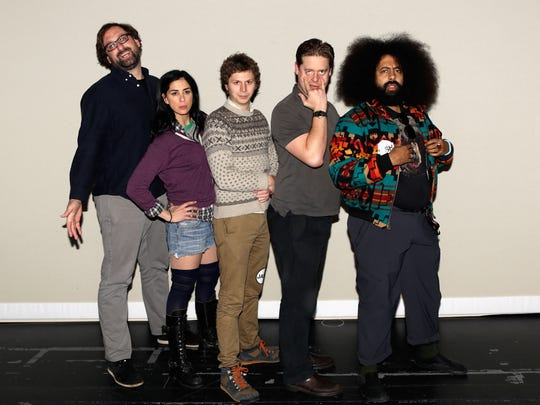 (L-R) Actors/comedians Eric Wareheim, Sarah Silverman, Michael Cera, Tim Heidecker and Reggie Watts  pose in the greenroom at JASH: A Comedy Platform With Full Creative Autonomy during the 2013 SXSW Music, Film + Interactive Festival at The Long Center on March 10, 2013 in Austin, Texas.