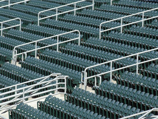 A photo of the empty stands during an Iowa Cubs game