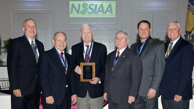 NJSIAA Hall of Fame Class of 2017: (from left) Jim Baglin, Dr. Sam Crosby, Royce Flippin, James Rochford, Scott Goodale and Bob Hurley.