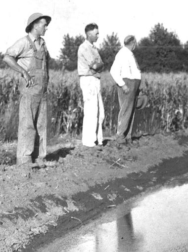 """Shown in 1937 on the bank of the main irrigation ditch on Fred Shaw&#39;s farm near Elliott are Elmer and Carl Carlson, Peter Hansen and C.F. Carlson.&nbsp;For more photos from the Register&rsquo;s archives, subscribe here: <a href=""""http://bit.ly/2KZwECu"""">http://bit.ly/2KZwECu</a>"""