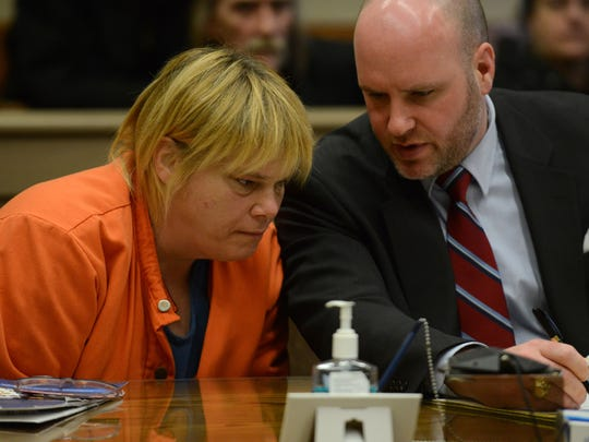 Victoria McCarty, left, speaks to her attorney Bryan Everitt during a change of plea hearing in Fairfield County Municipal Court Tuesday in Lancaster. McCarty pleaded guilty to one count each of operating a vehicle while intoxicated and assault.