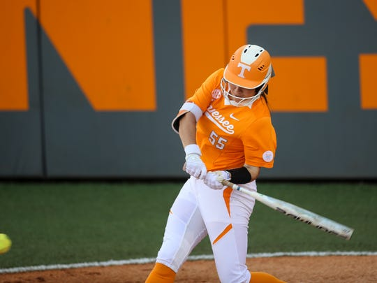 Tennessee infielder Meghan Gregg went 2 for 3 with two RBIs against Ole Miss on Saturday at Sherri Parker Lee Stadium.
