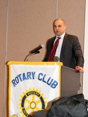 York County Chief Deputy Prosecutor speaks to an audience of York East Rotarians on April 5.
