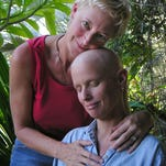 Kelly Rae, right, and Pam Haberman on the day of Rae's last chemotherapy treatment for breast cancer in 2006.