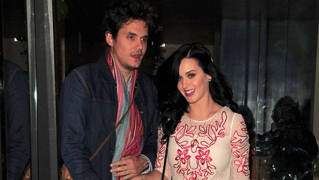 Katy Perry and John Mayer enjoyed a romantic Valentine's Day dinner date at Vicenti in Brentwood.