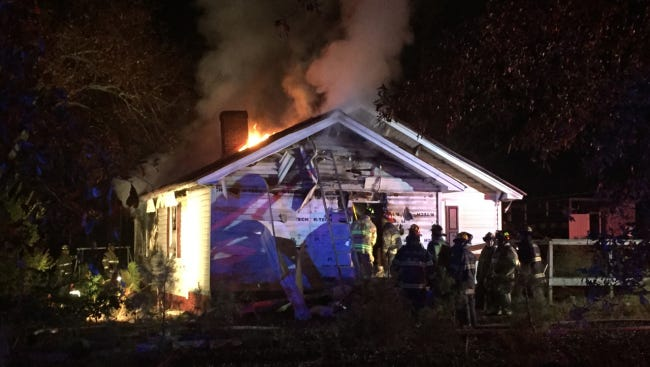 A man escaped a burning home Tuesday night on S.C. 81 in Anderson County.