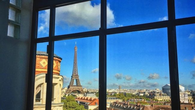 The apartment, located on Avenue de Suffren near UNESCO, has a view of the Eiffel Tower.
