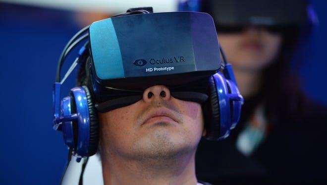 A Oculus Rift HD virtual reality head-mounted display.