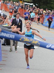 Oakland's Magdalena Boulet wins the women's race at Sunday's 2016 Big Sur Marathon with a time of 3:01:27.