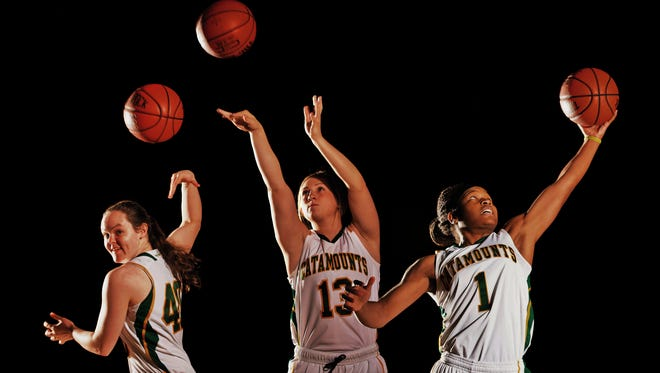 From left, University of Vermont women's basketball sophomore guards Jordan Eisler, Kristina White and Kylie Butler.
