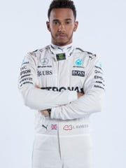 Formula One driver Lewis Hamilton leads the Mercedes