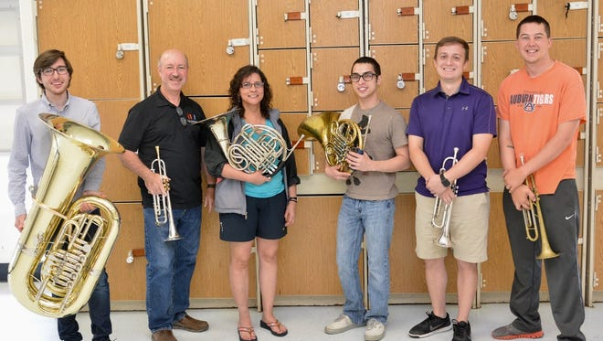 Wichita Falls Symphony Brass will perform June 8 at the Priddy Pavilion for Live at the Lake. Members of the group are, from left, Nick Beltchev, Wayne Bennett, Terah Shawver, Nate Shawver, Andrew Checki and Joshua Ritchie.