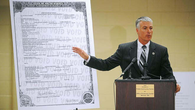 South Dakota Attorney General Marty Jackley speaks during a press conference to discuss details about the investigation of a September murder-suicide that killed six in Platte, S.D., Tuesday, Nov. 3, 2015, at the Platte Area Community Center in Platte.