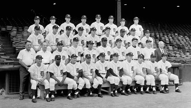 The Detroit Tigers team shown in Detroit on Sept. 18, 1968.