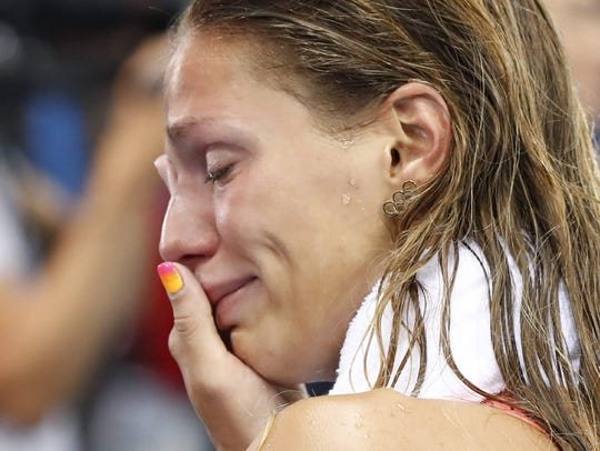 Russia's Yulia Efimova cries after she placed second