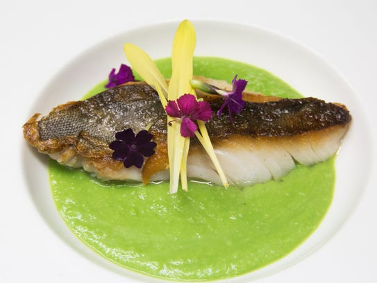 The crispy savel fish dish served with a spring-pea puree at Essense at Two Bunch Palms Resort in Desert Hot Springs.