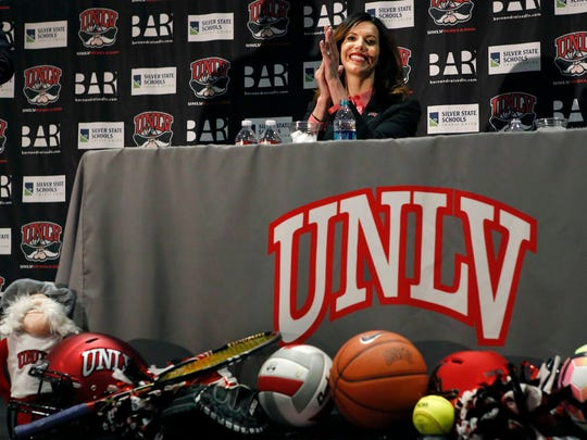UNLV athletic director Desiree Reed-Francois is introduced during a press conference Tuesday in Las Vegas.