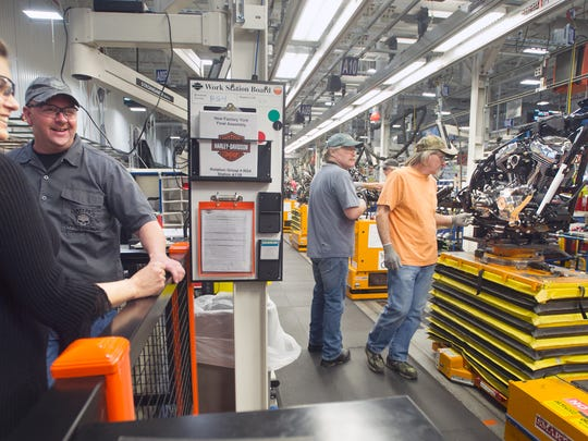 From the left, Susan and Robert Shingler, of Summerville, South Carolina, take a tour of the Harley-Davidson plant in Springettsbury Township in 2012.