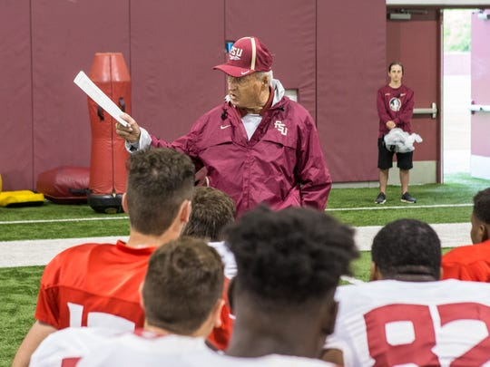 Former FSU football coach Bobby Bowden addresses the Seminoles before practice Wednesday morning.