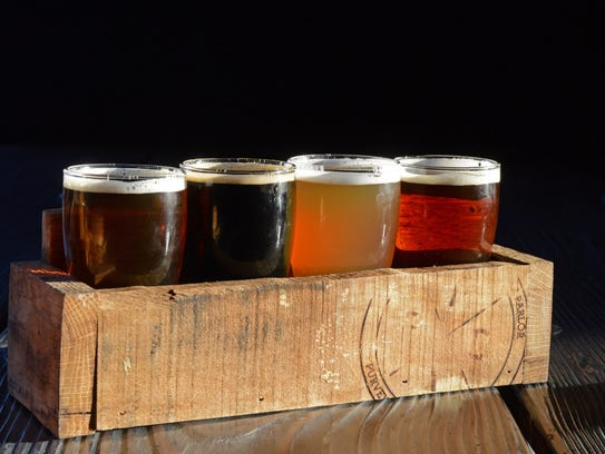 A flight of beer at The Plank Pizza Co. Beer Parlor