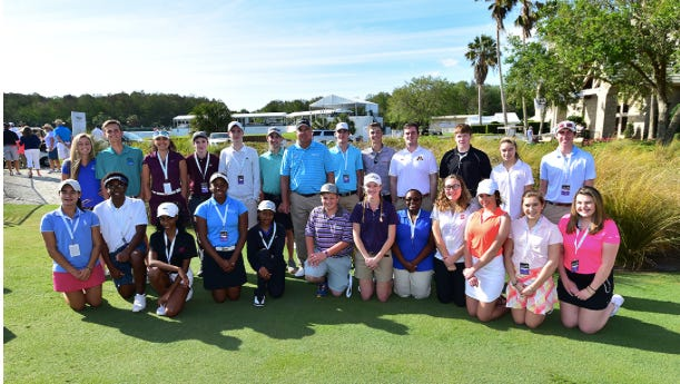 PGA Tour Champions pro Kenny Perry, center, poses with members of the Golf to Paradise-The First Tee Champions Challenge after a putting clinic at TwinEagles in 2017. The Champions Challenge returns as part of the Chubb Classic again and will be played at Quail Creek Country Club. There will be a clinic for the 24 participants Thursday.
