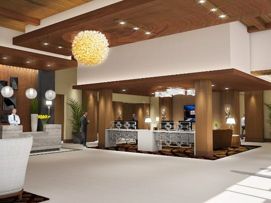 The front lobby of the front lobby at the Sheraton Redding at Sundial Bridge is shown in this artist's rendering.