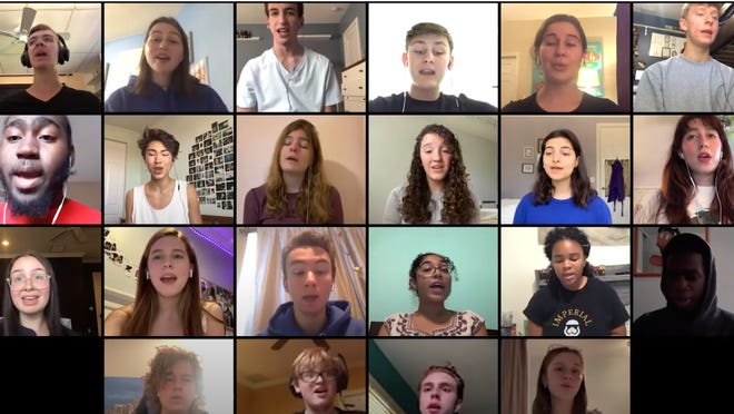 "A singers ensemble at Dreyfoos School of the Arts performs the Belinda Carlisle classic ""Heaven Is A Place On Earth"" via a video-conference application."