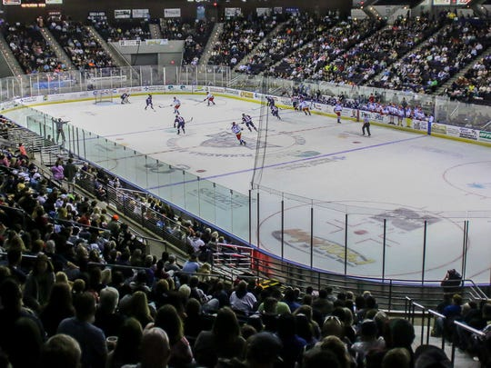 The Pensacola Ice Flyers take on the Roanoke Railyard Dawgs on the first of two back-to-back $5 tickets nights at the Pensacola Bay Center on Friday, March 02, 2018.