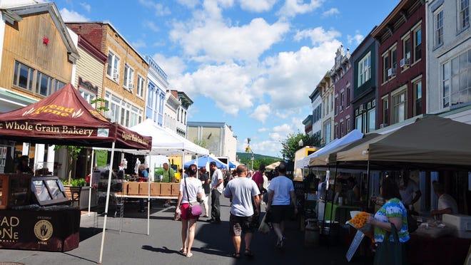 The farmers market in held in Uptown Kingston.