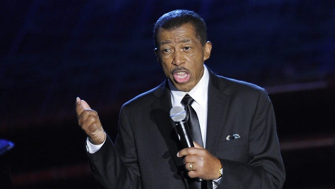 """A picture taken on June 14, 2012 shows US singer Ben E. King performing at the Songwriters Hall of Fame 2012 Annual Induction and Awards Ceremony in New York. Ben E. King, the soul singer whose classic """"Stand By Me"""" became a worldwide hit in 1961, has died at age 76, his spokesman said on May 1, 2015. King, who lived in New Jersey, died of natural causes on April 30, 2015, spokesman Phil Brown said."""