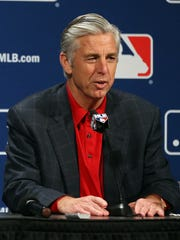 Boston Red Sox president Dave Dombrowski speaks with