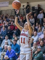 Marshall's Taryn Long (11) takes a jump shot during