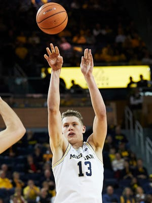 Feb 14, 2018; Ann Arbor, MI, USA; Michigan forward Moritz Wagner shoots in the first half against Iowa at Crisler Center.