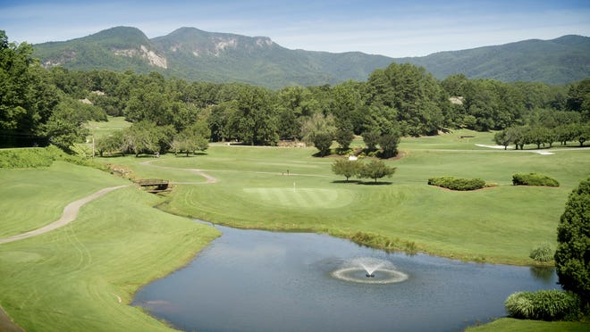 A view of the par-3 No. 8 hole at Rumbling Bald's Apple Valley Golf Course.