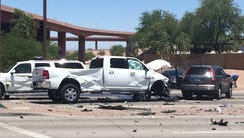 Three people were injured Sunday in a multi-vehicle