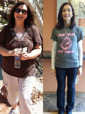 Manitowoc Lean on the Lakeshore winner Julie Koeser's before and after photos.