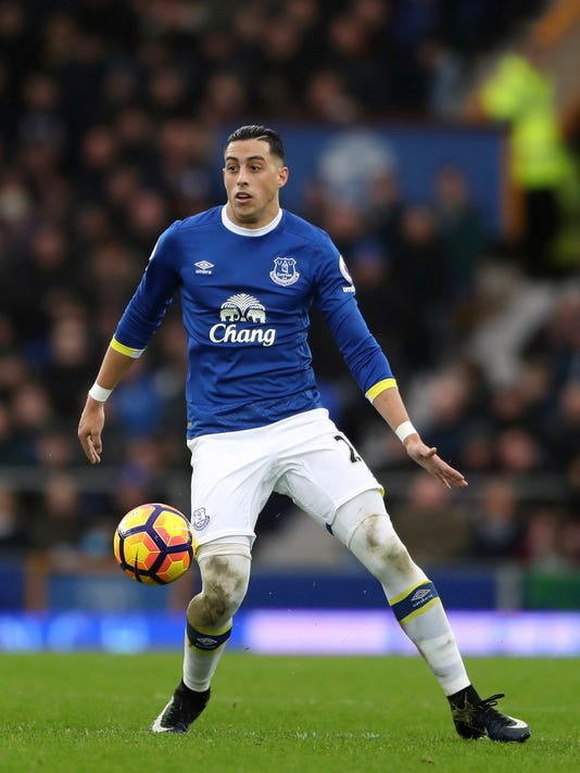 FILE- In this Jan. 15, 2017 file photo, Everton's Ramiro Funes Mori, in action during a soccer match. Everton defender is set to miss the rest of the season because of a knee injury in the latest blow to the Premier League team's defense.  (Nick Potts/ PA via AP)