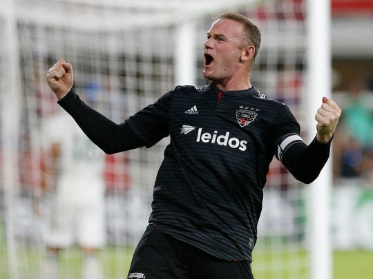 D.C. United forward Wayne Rooney celebrates after scoring