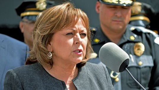 New Mexico Gov. Susana Martinez talks on a new program that will send monitors to courtrooms to watch how judges rule on cases involving suspects with multiple drunken driving convictions, during a news conference in Albuquerque, N.M., Tuesday, April 19, 2016.