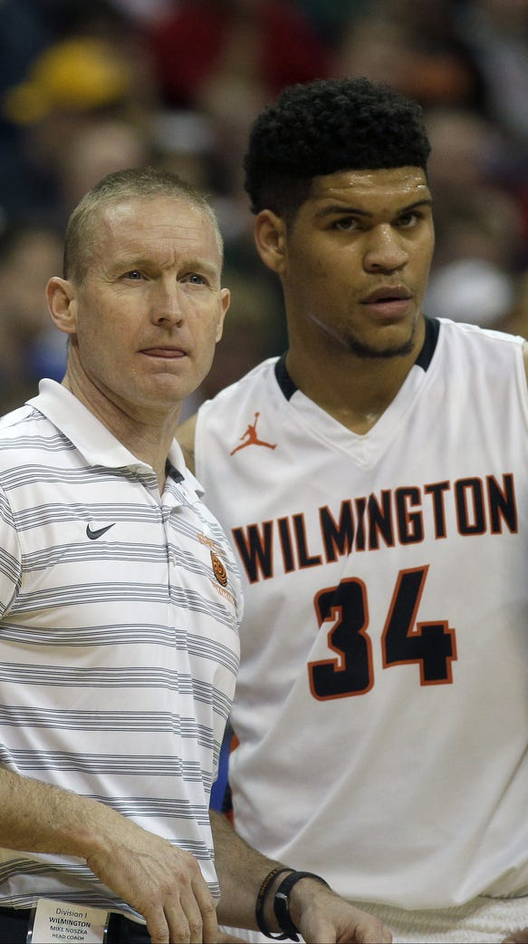 Wilmington head coach Mike Noszka (left) with Jarron