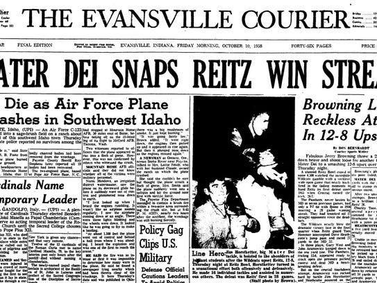 The front page of the Oct. 10, 1958 Evansville Courier