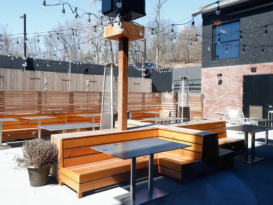 The outdoor patio at BV's Grill at The Time Hotel in