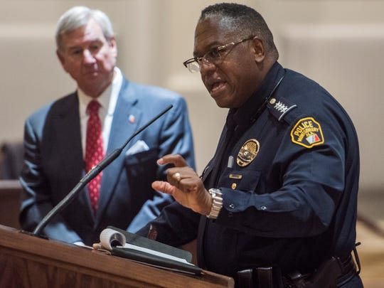 Montgomery Police Chief Ernest Finley, right, and Montgomery Mayor Todd Strange, left, discuss past shootings in Montgomery during the mayor's weekly press briefing at city hall in Montgomery, Ala. on Thursday June 29, 2017.