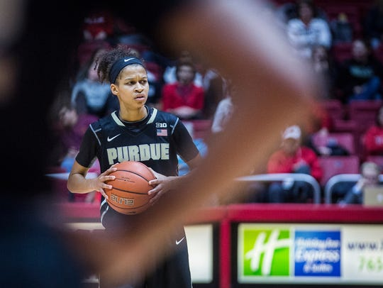 Purdue's Ashley Morrissette looks to pass against Ball