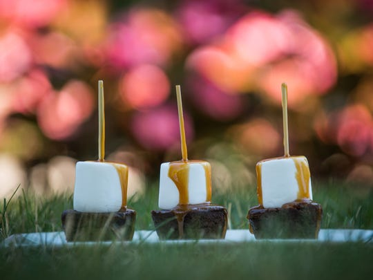 Rocky Road Brownie Skewers with Salted Caramel
