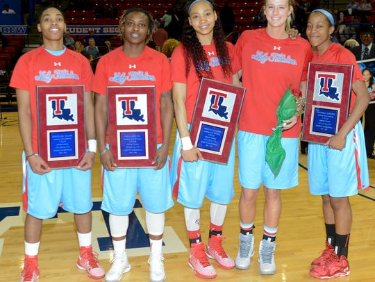 Louisiana Tech's five seniors were honored before Sunday's