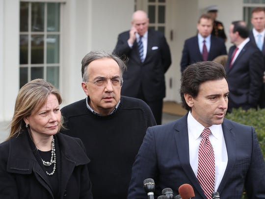 Ford Motor Company CEO, Mark Fields (R), General Motors CEO, Mary Barra, (L), and Fiat Chrysler CEO, Sergio Marchionne (C), speak to the media after attending a breakfast with President Donald Trump at the White House on January 24, 2017 in Washington, DC.