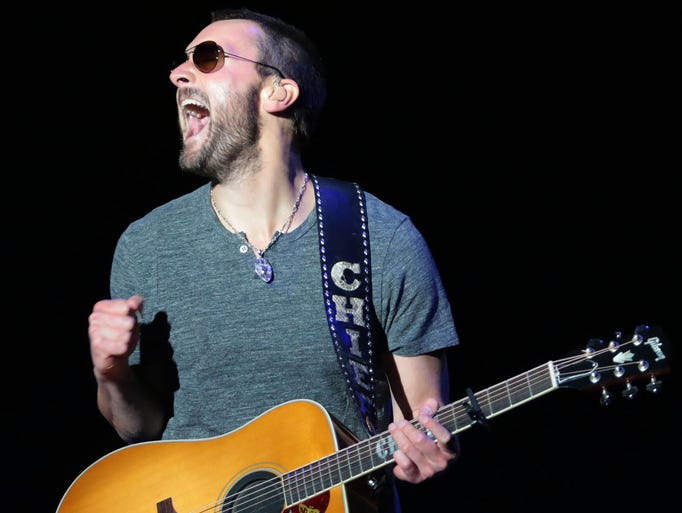 Eric Church performs on the Mane Stage at the Stagecoach music festival on Friday, April 25, 2014 in Indio, CA,